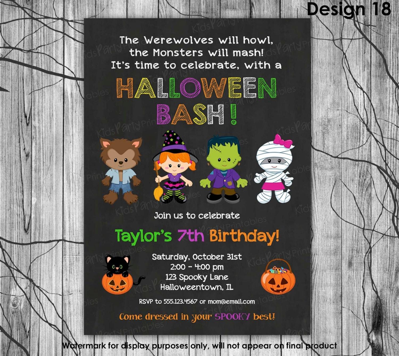 HALLOWEEN Birthday Party Invitation Kids Halloween Invitation
