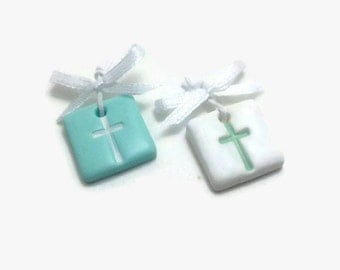 Baptism Favors, Witness Pins, Cross Charms, Baptism Decorations, Martyrika, Baptism Favors For Boys, Green Cross Favors, Pack of 20, 40, 60