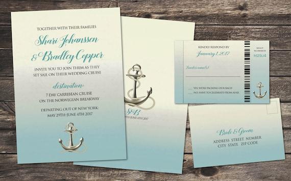 Cruise Wedding Invitations: Cruise Destination Wedding Invitation Set With Reply Boarding