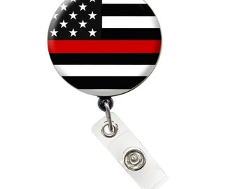 Thin Red Line ID Badge Nurse Retractable Badge Reels/ ID Badge Holder