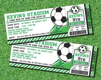 Soccer Ticket Pass Football BIRTHDAY Printable 2.5 x 7 inch Invitation, INSTANT DOWNLOAD, You Edit Yourself with Adobe Reader