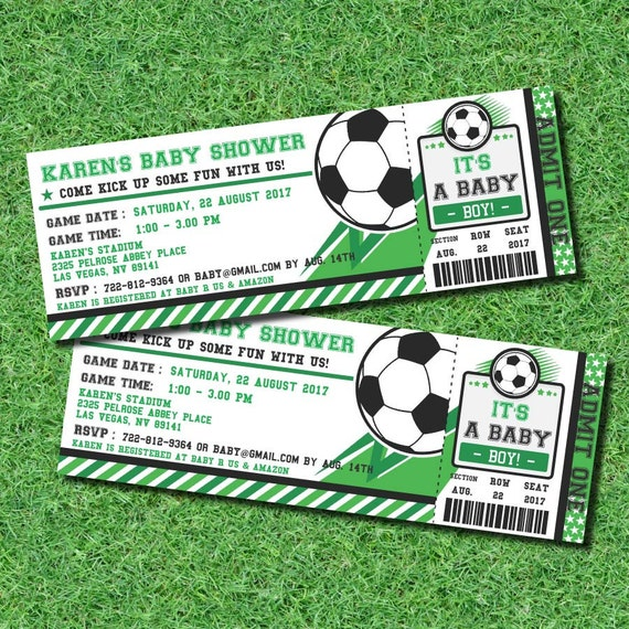 Soccer Ticket Pass Football BABY Shower Printable 2.5 X 7 Inch Invitation, INSTANT DOWNLOAD, You