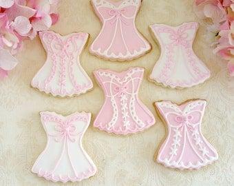 Beautiful Lace Lingerie Cookies 1 Dozen (12 cookies) -  Pink - Bachelorette Party