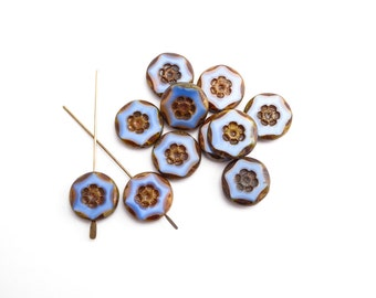 10 x 15mm Blue Picasso Flower Coin Czech Glass Beads, Blue Coin Beads, Flower Coin Beads, Blue Flower Beads CON0046