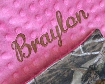 Baby Girl Camo Blanket Real Tree Camo Camoflauge with Hot Pink Minky Dot, Personalized Custom Embroidery Monogramming