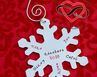 Personalized Ornament, Christmas Ornament, Custom Snowflake Ornament, Family Ornament, Christmas Tree Ornament, Family Name, Holiday Deco