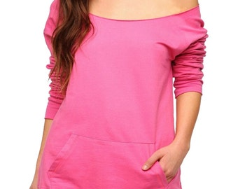 LADIES SLOUCHY off the shoulder SWEATSHIRT with Pockets -  Blank - Gift - DIy - Do it Yourself - 16 colors to choose From