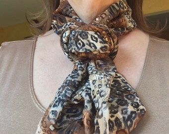 Animal Print Heritage Infinity Scarf with Gold Running Through