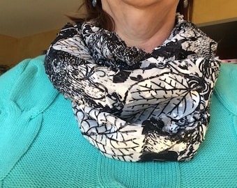 Black and White Infinity Scarf Adorned with Metallic Silver Threads