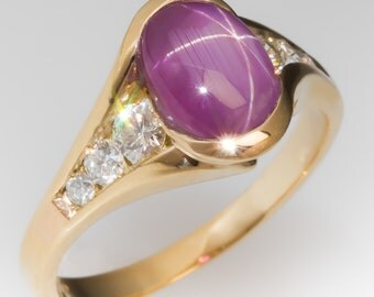 2.39 Carat Star Ruby No Heat Cabochon Vintage 18K Gold Ring July Birthstone WM10838