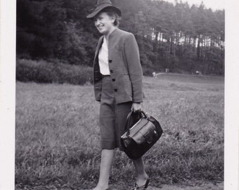 Vintage Snapshot Photo - Lady Walking Through Meadow, Field - Handbag, Hat, Smart Clothes