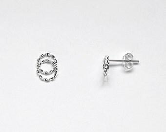 Sterling Silver Circle Stud Earrings - Interlocking Double Circle - Infinity Style Earrings - Simple Minimalist Jewelry LITTIONARY