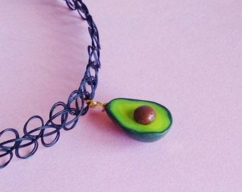 Avocado Necklace, Avocado Pendant, 90's Necklace, Avocado Grunge Choker, Avocado Tattoo Choker, Miniature Food jewelry