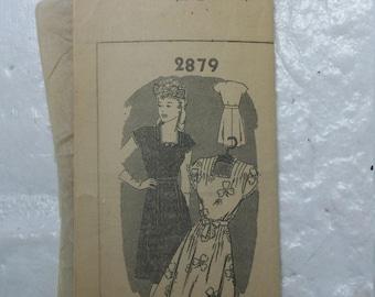 """Flirty 1940s day dress w/pintuck details dress pattern bust 34"""""""