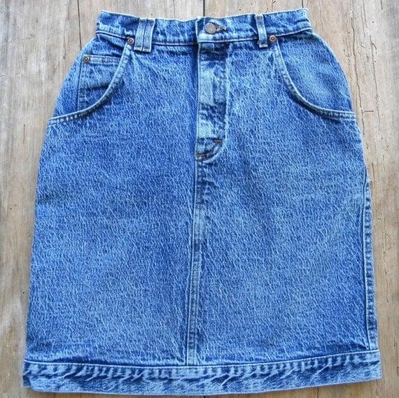 vintage acid wash high waist denim skirt size xs