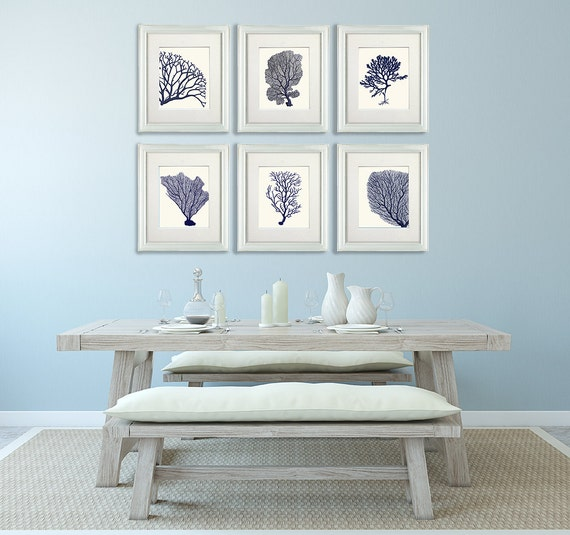 Coral home decor set of 6 blue coral prints 2 nautical for Navy blue and coral bedroom ideas