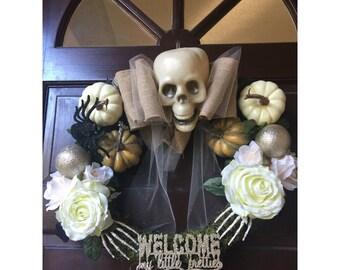 Shabby Rose Halloween Wreath