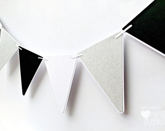 Monochrome Black White and Silver Glitter Party Bunting Triangle pennant banner. Baby shower, birthday party, photo prop. Party decorations.