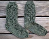 Triangle Lace Socks || Handknit Tan and Green Wool Socks
