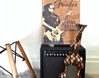 Guitar Pillow, Bedroom Decor, Throw Cushion, Decorative Pillow, Music Pillow, Mini Guitar Cushion, Music Teacher Gift