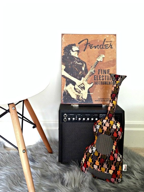 Guitar pillow bedroom decor throw cushion decorative - Guitar decorations for bedroom ...