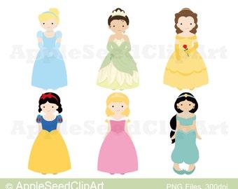 Princess Digital Clip Art, Instant Download, Cute Girls Digital Clip Art, Srcapbooking