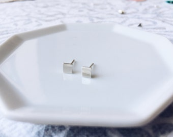 Silver square earrings  // small silver geometric studs // solid sterling silver ear posts // 4mm // silver squares // minimalist geo