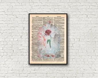 Fairytale Rose Art Print Beauty and the Beast Magical Fantasy Dictionary Wall Art