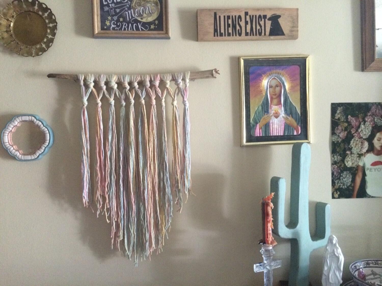 Pastel rainbow vintage yarn wall decor macrame with real palm for Yarn wall art
