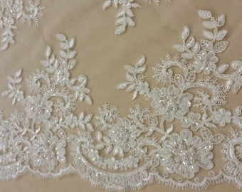 Beaded ivory lace fabric, Sequin lace, French lace, Alencon lace, Bridal lace, Wedding lace White lace Embroidered Floral lace KSBY61653CSB