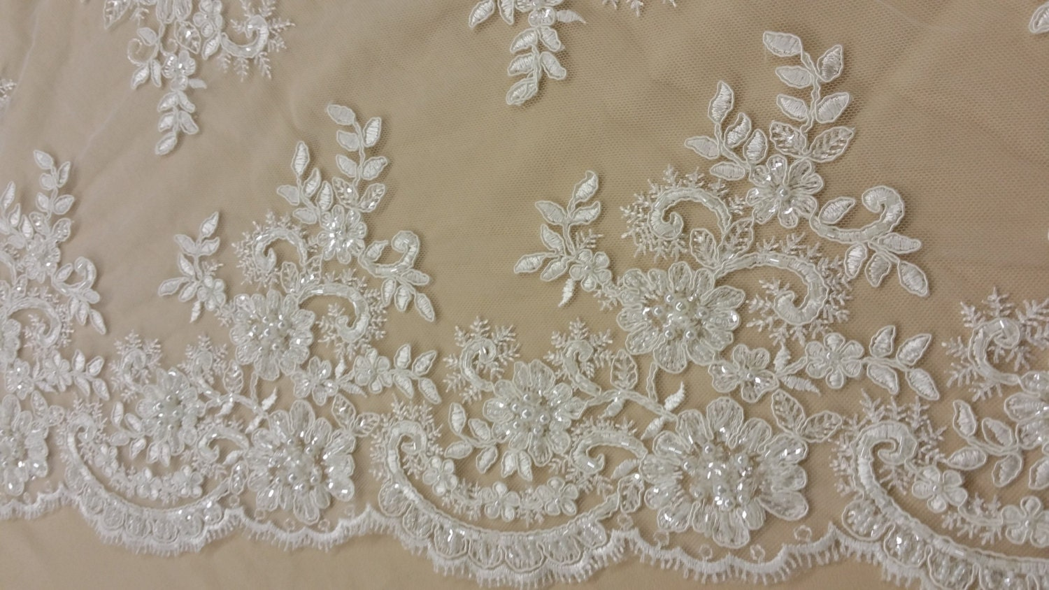 Beaded Ivory Lace Fabric Sequin Lace French Lace Alencon