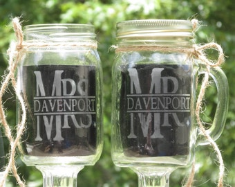 Personalized Rustic Pair Toasting Redneck Wine Glasses / Mason Jars / Choice Daisy Lids / Mr. Mrs. Last Name / Wedding / Now, I am Complete