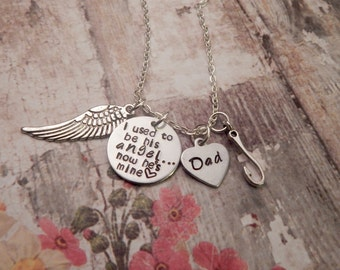 I Used To Be His Angel Custom Necklace with Fishing Hook Charm - Father Memorial Necklace