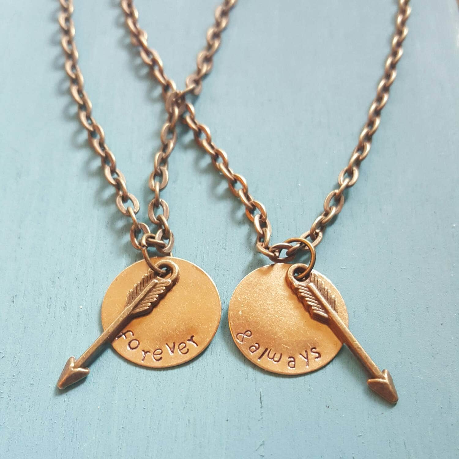 Forever and always matching necklace set with arrow by for Couples matching jewelry sets