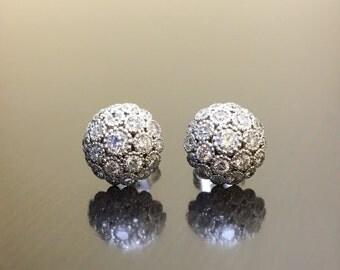14K White Gold Diamond Earrings - Art Deco 14K Gold Diamond Stud Earrings - Halo Diamond White Gold Earrings - White Gold Art Deco Earrings