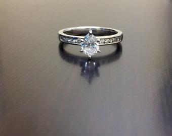 Platinum Pear Shape Diamond Solitaire Engagement Ring - Platinum Diamond Wedding Ring - Platinum Solitaire Diamond Ring - Pear Shape Ring