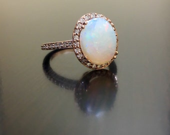 14k rose gold halo diamond opal engagement ring art deco rose gold opal diamond wedding - Opal Wedding Ring