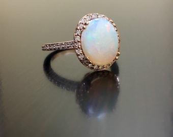 14K Rose Gold Halo Diamond Opal Engagement Ring - Art Deco Rose Gold Opal Diamond Wedding Ring - Rose Gold Opal Ring - Halo Diamond Ring