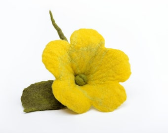 Fiber flower brooch - felted buttercup brooch - yellow fiber brooch - yellow flower brooch, fiber buttercup brooch, yellow felt brooch [B13]