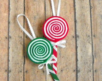 Red OR Green Swirled Lollipop Christmas Ornament