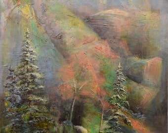 Original fine art, acrylic paiinting, landscape, tree painting, mountain landscape, mountain painting, Tybi Studio, Oklahoma artist