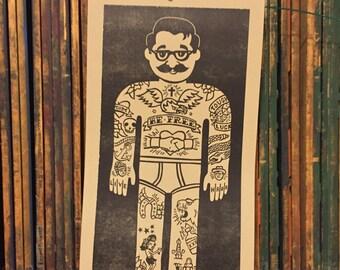 Tattoo Man Woodcut Print