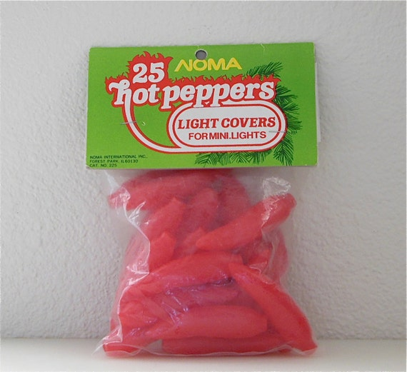 25 Red Chili Pepper Christmas Light Covers Sealed Unopened