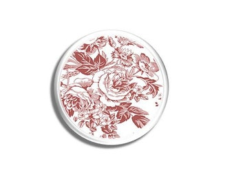 Red and White Floral Toile Dresser Drawer Pull - Shabby Cottage, Rose, Chic Country, Victorian, Bath - Knob, Cabinet Door - 315D25