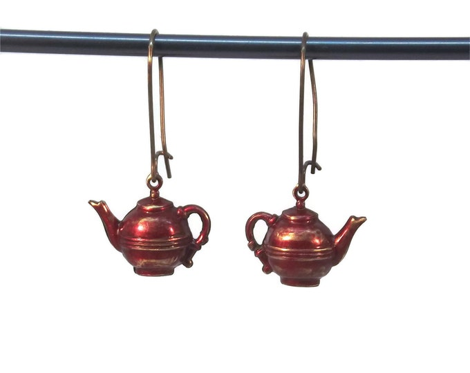 Hand Painted Brass Tea Pot Drop Dangle Earrings Red Nickle and Lead Free
