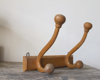 French Vintage Wooden coat Rack 4 pegs