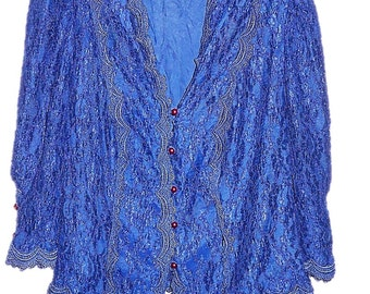 Blue Cachet Bari Protas Floral Button Down Lace Blazer Bolero Jacket Top