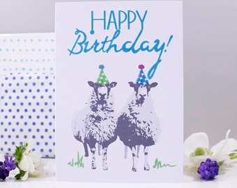 Happy Birthday Sheep Party Hat Card - Sheep Birthday Card - Farmer Birthday Card - Ewe Birthday Card - Sheep Card - Funny Animal Card