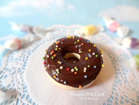 Fake Donut Doughnut Glazed Chocolate Frosting Sprinkles DECOR Fake Cake Kitchen Decor Display