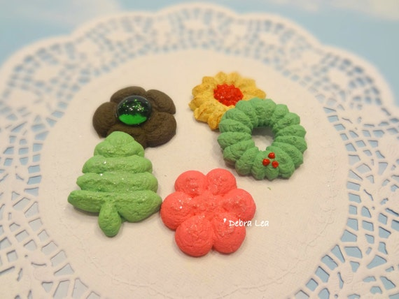 Fake Cookies Set C Handmade Holiday Christmas Faux Sugar Press Spritz Danish Butter Cookies